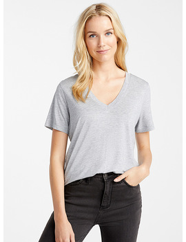 Tencel* Lyocell Loose V Neck Tee by Contemporaine\N                            Edited Modern Fashion