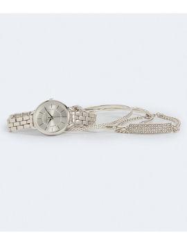 Rhinestone Circle Metal Watch &Amp; Bracelet Set by Aeropostale