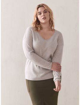 Cashmere V Neck Sweater   Addition Elle by Penningtons