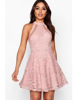 Lace High Neck Skater Dress by Boohoo