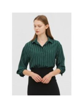 Casual Blackish Green Striped Silk Shirt by Lily Silk