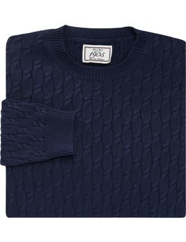 1905 Collection Cable Knit Cotton Crew Neck Sweater  by Jos. A. Bank