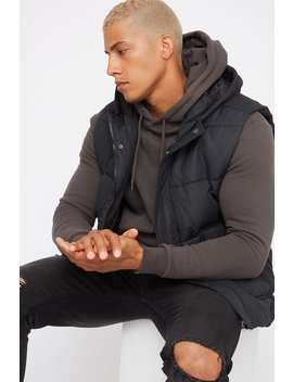 Hooded Puffer Vest by Urban Planet