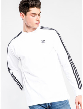 3 Stripes Long Sleeve T Shirt In White & Black by Adidas