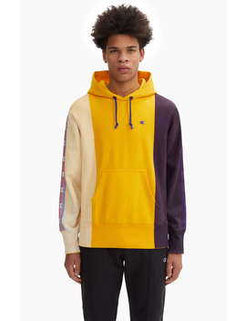 Hand Painted Colour Block Logo Tape Reverse Weave Hoodie by Champion
