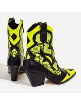 Mixer Neon Yellow Snake Print Detail Western Ankle Boot In Black Faux Leather by Ego