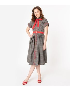 1950s Style Grey Plaid Button Up Swing Dress by Unique Vintage