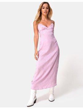 Gaela Slip Dress In Satin Cheetah Dusky Lilac By Motel by Motel
