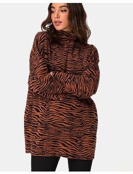 Neivie Roll Neck Jumper In Tiger Knit Brown By Motel by Motel