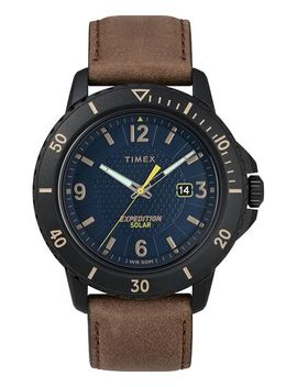 Expedition Gallatin Solar 44mm Leather Strap Watch by Timex