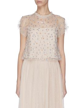 'glimmer' Sequin Embroidered Sheer Ruffle Top by Needle & Thread