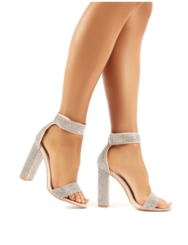 Drippin Nude Diamante Block Heeled Barely Theres by Public Desire
