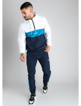 Gk Shore 1/4 Zip Pullover Hoodie   Navy Nights/White/Aqua by The Gym King
