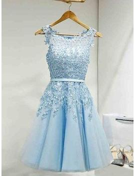 Elegant Homecoming Dress ,Light Sky Blue  Evening Gowns , Sexy Ball Gowns , New Fashion,Lace Appliques Formal Dress, Short Prom Dress Party Dress by Beauty Angel2176 Beauty Angel2176