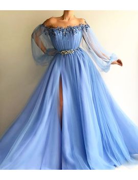 Off The Shoulder Tulle Front Slit Prom Dress,Floor Length Evening Dress by Beauty Angel2176 Beauty Angel2176