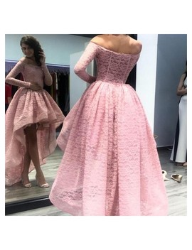 Pink Party Dress Long Sleeve Evening Dress Off Shoulder Prom Dress Lace Applique Formal Dress by Beauty Angel2176 Beauty Angel2176