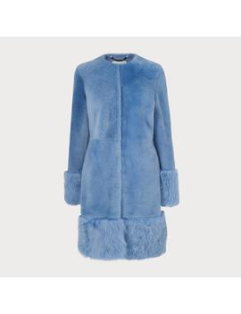 Mishia Blue Shearling Coat by L.K.Bennett