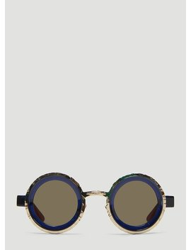Mask Z3 Chiselled Round Sunglasses In Navy by Kuboraum