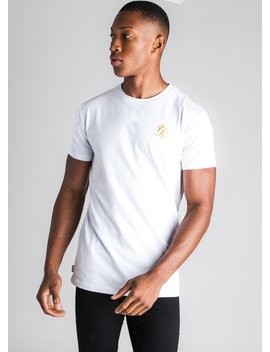 Gk Origin Fitted T Shirt   White/Gold by The Gym King