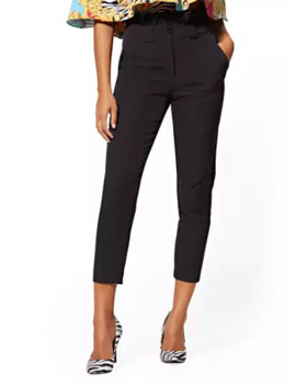 Black Paperbag Waist Slim Ankle Pant   7th Avenue by New York & Company