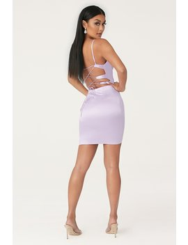 Zoey Cowl Neck Strappy Back Mini Dress   Lilac by Meshki