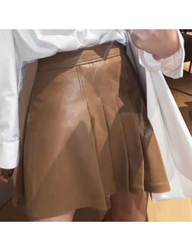 Rinad Fold Hem Leather Mini Skirt by Jessica Buurman