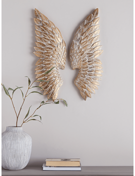New Whitewashed Gold Angel Wings by Cox & Cox