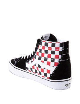 Vans Sk8 Hi Checkerboard Skate Shoe   Black / Red / White by Vans