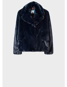 Women's Navy Faux Fur Short Coat by Paul Smith