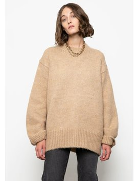 Camel Crew Neck Oversized Sweater by The Frankie Shop