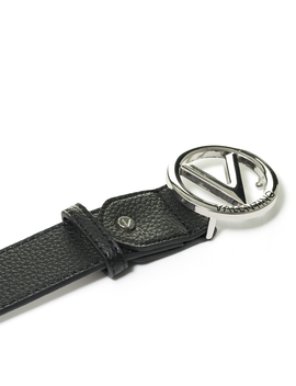 Round Buckle Grain Large Leather Belt by Valentino By Mario Valentino