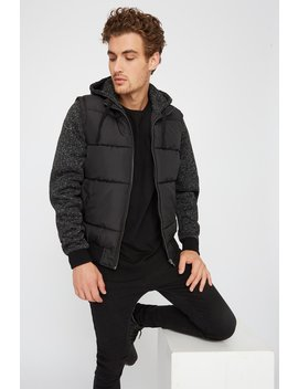 Jersey Hooded Puffer Bomber Jacket by Urban Planet
