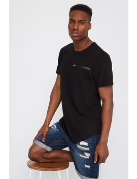 Ribbed Zipper Pocket T Shirt by Urban Planet