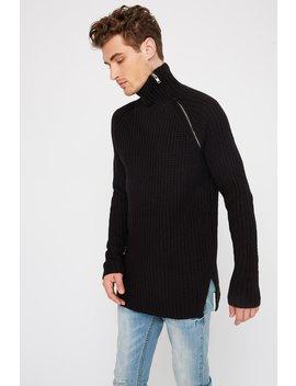 Crochet Zip Neck Sweater by Urban Planet
