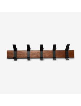 Black Steel & Wood Wall Hook Set by Yamazaki Home