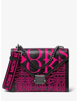Whitney Large Newsprint Logo Leather Convertible Shoulder Bag by Michael Michael Kors