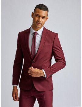 2 Piece Burgundy Stretch Skinny Fit Suit by Burton