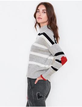 Stripes And Heart Turtleneck by Sundry Clothing