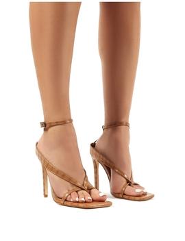 Emilia Tan Croc Strappy Stiletto High Heels by Public Desire