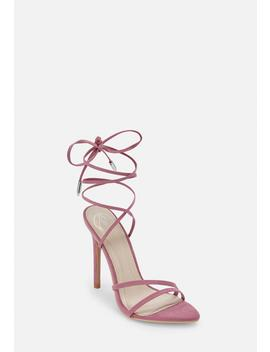 Mauve Pointed Toe Lace Up Barely There Heels by Missguided
