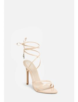 Nude Pointed Toe Lace Up Heeled Sandals by Missguided