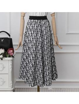Designer 2019 Black D Letter Print Women's Skirts Milan Runway Pleats Jacquard Skirts Womens Yy 42 by D Hgate.Com