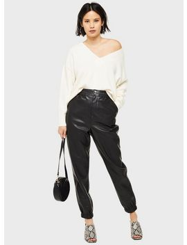 Leather Look Jogger Trousers by Miss Selfridge