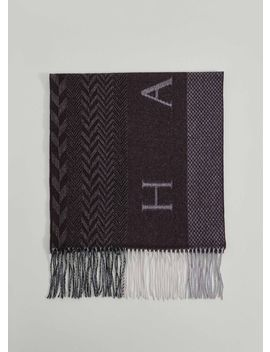 Oversized Branded And Multi Pattern Wool Scarf by Hacket