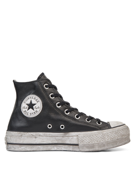 Chuck Taylor All Star Leather Smoke Platform High Top by Converse