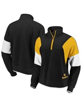 Women's Pittsburgh Steelers Wear By Erin Andrews Black Colorblock Half Zip Pullover Hoodie by Nfl