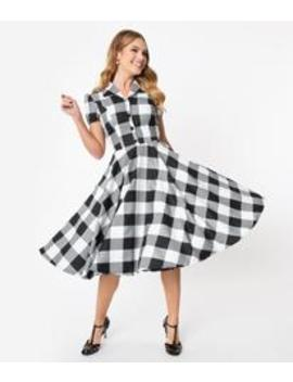 1950s Style Black & White Gingham Mona Swing Dress by Unique Vintage