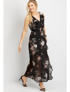 Floral Ruffle Wrap Maxi Dress by Maurices