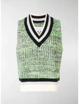 Stripe Detail Sleeveless Sweater by Maison Margiela