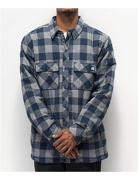 Dravus Blue & Grey Sherpa Flannel Shirt by Zumiez